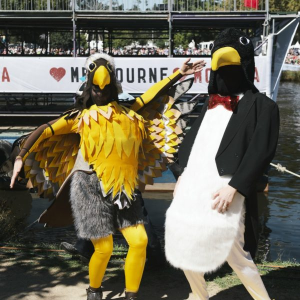 The Birdman mascots Harriet and Percy